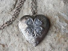 SHAMROCK, CLOVER, IRISH, ANTIQUED SILVER HEART LOCKET -  ST. PATRICK'S DAY