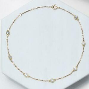 Rare White Round Cut Bezel Set Cubic Zirconia 10K Real Yellow Gold Fine Anklets