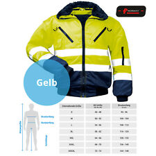 Warnschutzjacke Arbeitsjacke Warnjacke Pilotenjacke 4 in 1 Winterjacke gelb