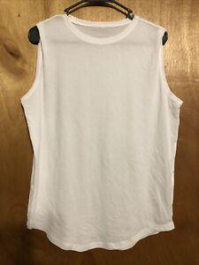 Lululemon stretch Sleevless Tank white no size dot 12 or 14? Please Read