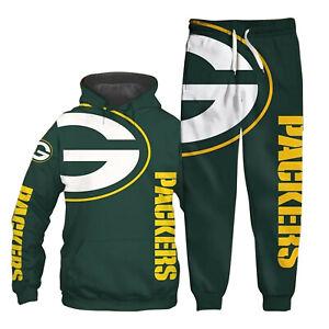 Green Bay Packers Tracksuit Set 2PCS Hooded Jacket Coat Jogger Pants Sweatsuit