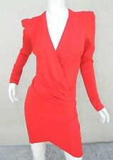 NWT MISGUIDED Dress Red Jersey Faux Wrap Padded Shoulders Dress  Sz 10