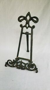 Iron Easel FLEUR DE LIS Plate Art Photo Picture Frame Holder Book Display Stands