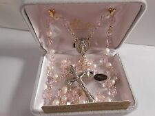 6mm Pink Crystal and Pearl Beads with Deluxe Silver Oxidized Crucifix - Rosary