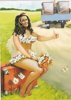 A.&O. DROZDOVS nude Pin up Plus size girl hitch-hiking Russian modern postcard