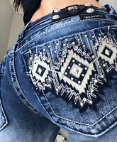 Miss Me Boot Aztec Rhinestone Embellished Denim Blue Jeans size 2 26 x 33 womens