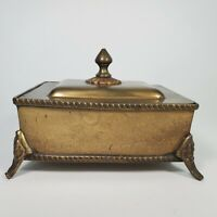 VTG Solid Brass Finial Lid Footed Trinket Box Handcrafted Decorative Crafts Inc.