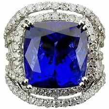 Cz All Set Ring In 925 Ss Statement Clean Tanzanite 12.66Ct Cushion Stone White