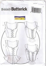 Historical Lace Up Laced Corset Tops Peplum Butterick Sewing Pattern 6 8 10 12