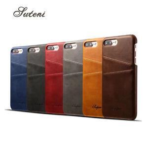 Funda iPhone 8 piel de gran calidad SUTENI ranuras para tarjetas leather cover