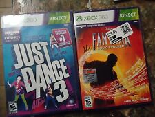 Lot of 2 Xbox 360 Just Dance 3 Kinect & Disney Fantasia Music Evolved New