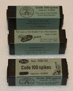 3 Sealed boxes of KADEE ALL SCALE SPIKES - CODE 100 (4000 spikes ea.) - #700-32
