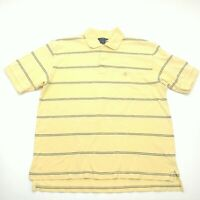 Brooks Brothers Mens Large Polo Shirt Yellow Short Sleeve Striped Cotton