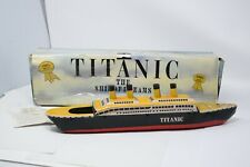 Vintage Steam Powered TITANIC POP-POP Boat Ship Rattandeep Tin Toy