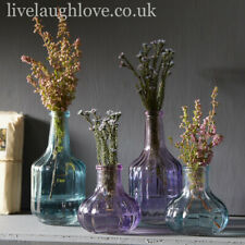 Set Of 4 Assorted Ribbed Decorative Coloured Glass Bottle Vases - Tallest 12.5cm