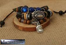 VINTAGE STYLE HAND CRAFTED LEATHER CORD BLUE BEAD MULTI LAYER BRACELET