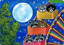 Original Raccoon Kittens Mouse Amusement Park Ferris Wheel Moon Fun ACEO Print
