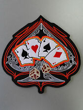 Embroidered SPADE DICE&CARD ACE Back Jacket Skull Patch