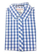Scotch & Soda Men's Blue White Gingham Check XXL 2XL Button Front Cotton Shirt