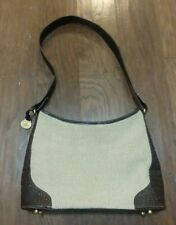 Beautiful Brahmin Tan Woven & Brown Croc Leather Shoulder Hand Bag Purse