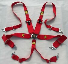 "NWT 3"" Red 6 Point Camlock Quick Release Car Seat Belt Harness For OMP Racing"