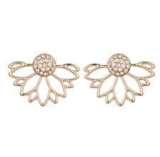 Womens Elegant Flower Lotus Crystal Ear Jacket Stud Earring Fashion Jewelry