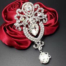 """Big 3.7"""" Alloy Sliver Rhinestone Crystal Brooch Pin Women DIY Wedding Bouquet"""
