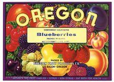 OREGON Brand, Vintage Salem Blueberries *AN ORIGINAL TIN CAN LABEL* 650