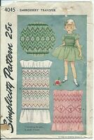 S 4045 sewing pattern 50's sew sweet SMOCKING BORDER Designs EMBROIDERY TRANSFER