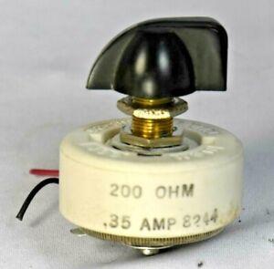 Memcor Rheostat Resistor 200 ohms, 25 Watt, 0.35 Amp, Top pointer knob Incl.