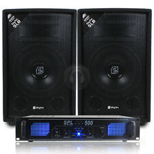 """2x Skytec 8"""" PA Speakers + Amplifier + Cables House DJ System 800W UK Stock"""