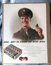 Original 1942 MILKY WAY Candy Bars WWII U.S. Army Soldier VINTAGE AD Newspaper