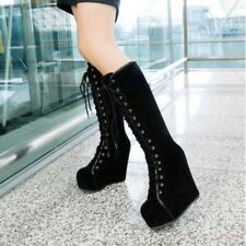 New Punk Emo Goth Womens Shoes Lace Up Faux Suede Platform Wedge Knee High Boots