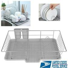 Kitchen Dish Drying Rack Drainer Dryer Tray Cutlery Holder Organizer Strainer US