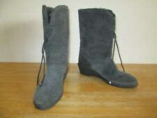 ADRIA Vintage 1980s Womens Grey Suede Faux Fur Lined Mid Calf Boots UK Size 6