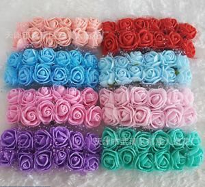 144Pcs Mini Artificial Flowers Foam Rose Heads Party Wedding Bouquet Decor AU