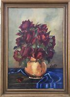Ölgemälde Stillleben mit Rosen und blauem Tuch signiert62 x 45 cm