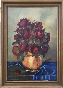 Oil Painting Still Life with Roses And Blue Cloth Signed 62 X 45 CM