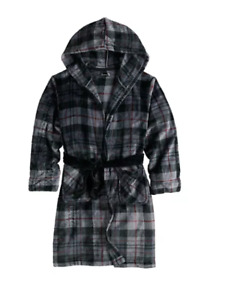 CUDDL DUDS Boys Gray Plaid Hooded L/S Fleece ROBE Size 12-14 NWT