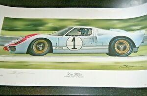 KEN MILES LE MANS 1966 GT40 NEW MOTOR SPORT LEGENDS PRINT 2020 SIGNED BY ARTIST