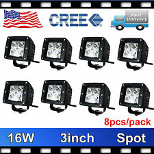8X 16W 3inch CREE SPOT LED WORK LIGHT BAR CUBE PODS OFFROAD BOAT UTE CAR TRUCK