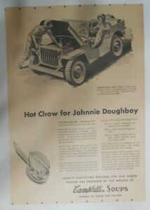 Campbell's Soup Ad: Hot Chow for Johnnie Doughboy from 1940's 11 x 15 inches