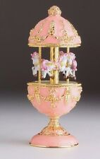 Pink Easter Egg Horse Carousel Trinket Box by Keren Kopal music box with crystal