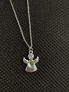 Angel With a Green Heart Silver Necklace