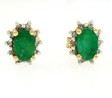 9ct Yellow Gold Emerald(1.00ct) & Diamond(0.10ct) Stud Earrings (7x9mm)