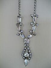 VINTAGE JAY FLEX STERLING SILVER WITH CLEAR RHINESTONES NECKLACE