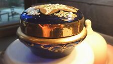 VINTAGE VENETIAN COBALT MURANO GLASS DISH AND LID WITH SCULPTED FLOWERS