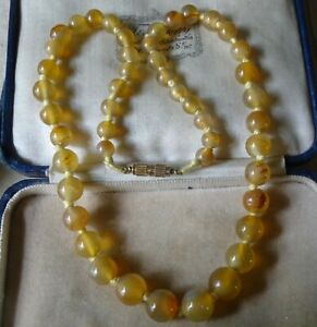 vintage amber yellow agate stone bead necklace hand knotted -A200