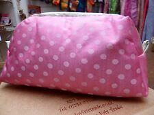 Manumit Pink Spot Make Up Cosmetics Bag Printed Zip Satin Fabric Lined Pockets