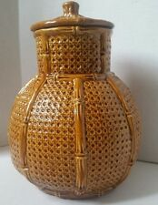 """Hyalyn Vintage Pottery Bamboo design lidded Urn 12"""" tall"""